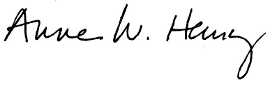 Anne Henry Signature